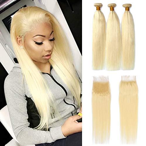 Dorabeauty Blonde Bundles 4×4 Lace Closure with 3 Bundles #613 Platinum Blonde 100% Brazilian Remy Human Hair (ST 18Closure +202224Bundles, Straight Blonde)