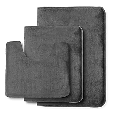 Clara Clark Non Slip Memory Foam Tub-Shower Bath Rug Set, Includes 1 Small Size 17 x 24 in. 1 Large Size 20 X 32 in. 1 Contour Rug 24 x 19 In. - Gray