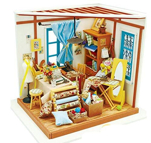DIY-Bibliothek Aus Holz Puppenhaus-Kits-Bücher Shop Woodcraft Construction Kit Handmade Library Dolls House - Miniatur-Möbelzubehör Mit LED-Licht - 8 Arten Zeremonie Möglich Wahl,Lisa'stailor'sshop