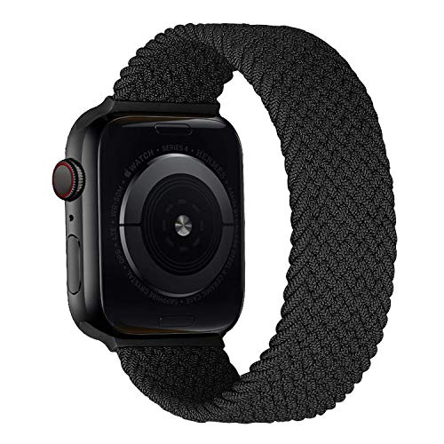 MroTech kompatibel mit Apple Watch Armband 40mm 38mm Uhrenarmband Elastic Woven Loop Ersatzarmband Nylon Stoff Sport Band Ersatz für iWatch SE Serie 6/5/4/3/2/1 Nylonarmband 38/40 mm Kohlenschwarz/S