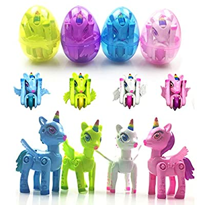 Anditoy Unicorn Deformation Toys in Plastic Easter Eggs for Kids Boys Girls Toddlers Easter Gifts Basket Stuffers Fillers (4 Pack)