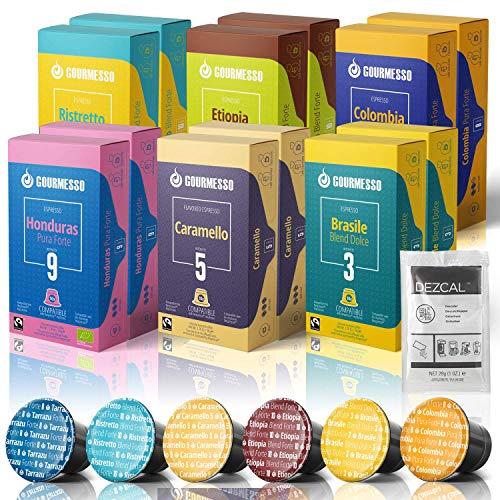 120 Fairtrade Coffee Capsules Compatible with Nespresso Original Line - 100% Fair Trade   Variety Pack Espresso and Lungo INCLUDES FREE Dezcal Descaling Solution   Gourmesso Select Bundle