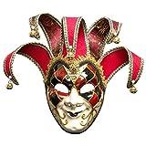 Toyvian Mscara navidea para Hombre, Estilo Veneciano, mscara de bufn, Carnaval, Disfraz, mscara (Rojo, Hombre)