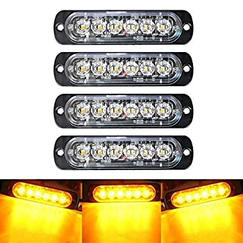 4-Pack 6 LED Amber Strobe Lights Vehicles Trucks Emergency Strobe Lights Kit 12V -24V Beacon Warning Hazard Flash Strobe Lights Bar Grill Grille Surface Mount Super Bright Waterproof