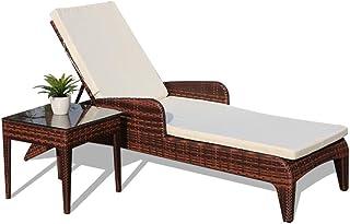 RBH Silla de Playa de ratán, Silla de salón Plegable y Ajustable con Mesa de