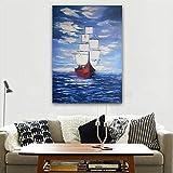 Sadhaf lienzo abstracto ola arte cartel impresión velero paisaje pared arte impresión familia habitación decoración A4 60x80 cm