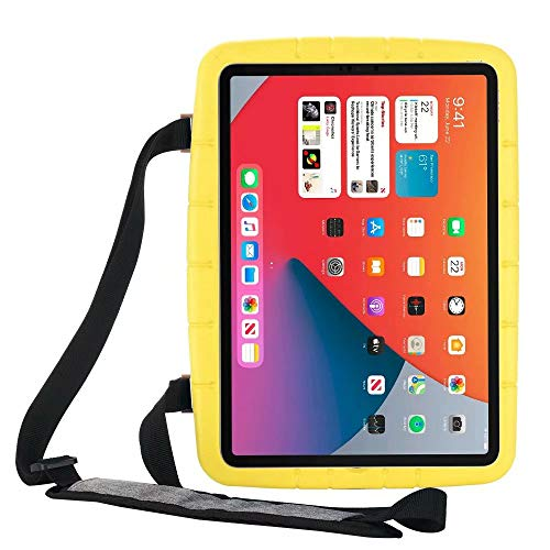 Lfdygcd Kids Case for iPad 10.2, Shockproof Cover with Kicktand and Strap for iPad 7th/8th Gen iPad Air 3rd iPad Pro 10.5 Yellow