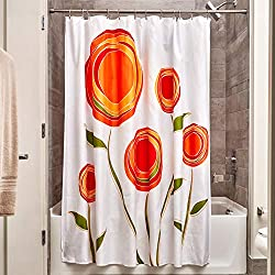 Orange and Red Marigold Fabric Shower Curtain