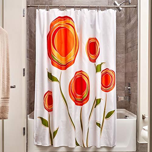InterDesign Marigold Cortina de baño de diseño | Cortina de ducha con ojales | 183 x 183 cm | Cortinas modernas con estampado de flores para ducha o bañera | Poliéster rojo/naranja