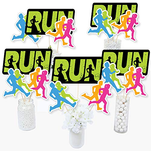 Big Dot of Happiness Set the Pace  Running  Track Cross Country or Marathon Party Centerpiece Sticks  Table Toppers  Set of 15