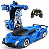 Hoollykii RC Robot Cars for Kids, Remote Control Transformrobot Car, 1:18 Scale Car Toys with One-Button Deformation and 360°Rotating Drifting, Best Gift for Boys and Girls (Blue)