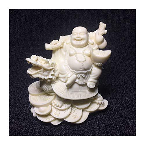 kerryshop Estatua Dragón Chino Tortuga riendo Buda auspicioso Dios de la Riqueza Estatua Arte Moderno Escultura de Alta Gama de decoración del hogar Accesorios Estatua de Buda