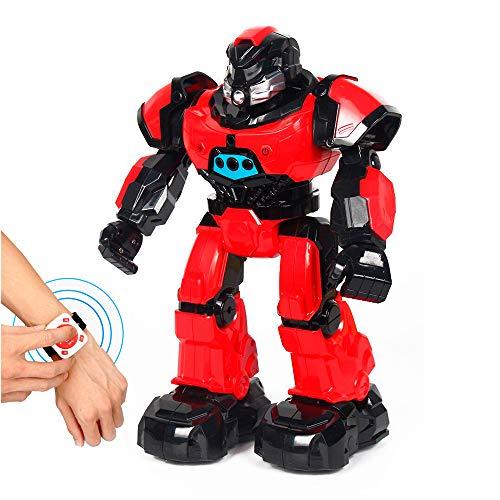 RC TECNIC Robot Inteligente Teledirigido por Gestos y Reloj, Camina, Habla y Baila   Juguete RC Programable Robotica para Niños   Regalo Educativo (Rojo)