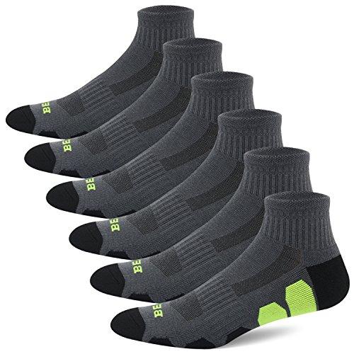 BERING Men's Athletic Ankle Running Socks, Size 10-13, DarkGrey/Black, 6 Pack