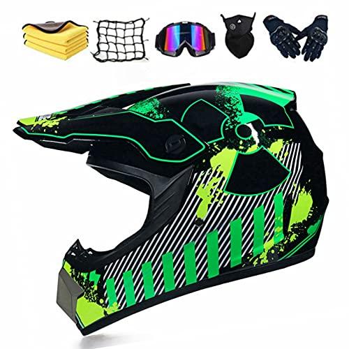 Casco de motocross, casco de motocross, juego con gafas, guantes, máscara de vellón, toalla de malla, casco de enduro para niños, casco de motocross, color verde, XL (60-61 cm)