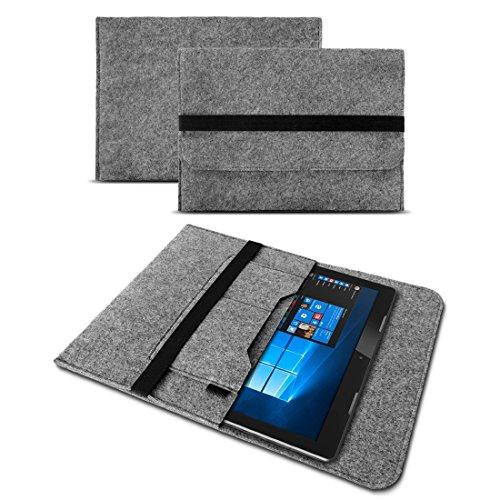 UC-Express Sleeve Hülle Trekstor SurfTab Duo W1 Filz Tasche Hülle Cover Tablet Schutzhülle, Farben:Grau