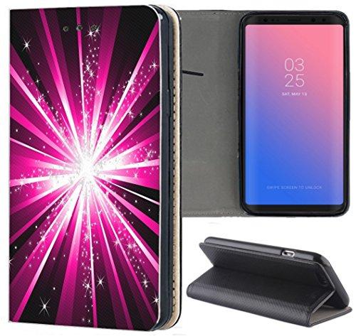 Handyhülle für Samsung Galaxy A3 2016 Premium Smart Einseitig Flipcover Flip Case Hülle Samsung A3 2016 Motiv (1270 Abstract Lila Schwarz)