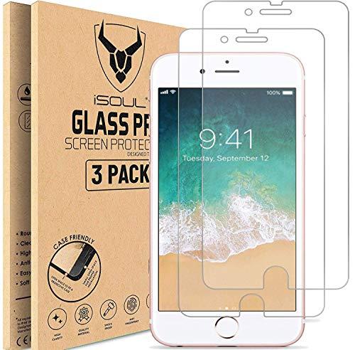 [3 Stück] Panzerglasfolie kompatibel mit iPhone 8 Plus/iPhone 7 Plus [5,5 Zoll] HD, iSOUL Displayschutzfolie, 9H Härte, Kratzfest, Blasenfrei Schutzfolie