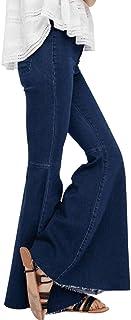 Women's Fashion Bell Bottom Pants High Waist Tassel Stretch Curvy Fit Jeans Blue