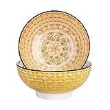 vancasso Tulip Juego de Cuencos 2 Piezas Porcelana Tazón Grande 1200ML Mandala Patrones, Cuenco para Sopa, Frutas, Ensalada, Ramen Bowl Porcelana Patrón de Grabado Externo