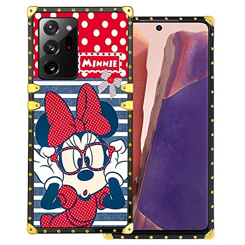 DISNEY COLLECTION Samsung Galaxy Note 20 Ultra 5G Case Minnie Mouse Luxury Square Cute Design Metal Decoration Full Protective Soft TPU Shockproof Back Cover 6.9 Inch