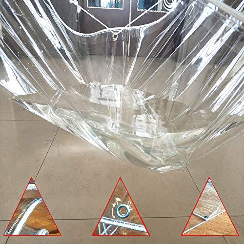 XXS 100% Transparente wasserdichte PVC-Plane, 600 g / ㎡, 0,5 mm Hochleistungs-Weiche wasserdichte Plane, Regenschutzvorhang-Fensterbalkon im Freien Regensichere...