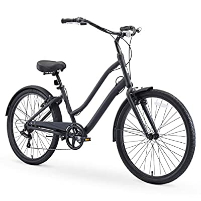 """sixthreezero EVRYjourney Men's Casual Edition 7-Speed Sport Hybrid Cruiser Bike w/Integrated Cable Lock, 26"""" Bicycle, Matte Black with Black Seat and Black Grips"""