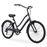 sixthreezero EVRYjourney Men's Casual Edition 7-Speed Sport Hybrid Cruiser Bike w/Integrated Cable Lock, 26' Bicycle, Matte Black with Black Seat and Black Grips