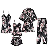 Blushy Silk 5 Piece Pajama Set, Girls Ladies Nightwear Silk Satin Pajamas Sleepwear Stain Lace Floral Nighties Robe Dressing Gown Nightdress with Chest Pad XL Printed Black