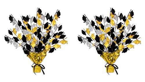 "Beistle 2Piece Graduate Cap Gleam 'N Burst Centerpieces, 15"" (Black/Gold/Silver)"