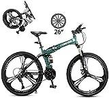 Bici Trekking, 26In Bicicletta da Trekking Pieghevole Bicicletta da Trekking da Cross Bicicletta Unisex per Esterno in Acciaio al Carbonio a Sospensione Completa MTB-26 Pollici / 24 velocità_Verde