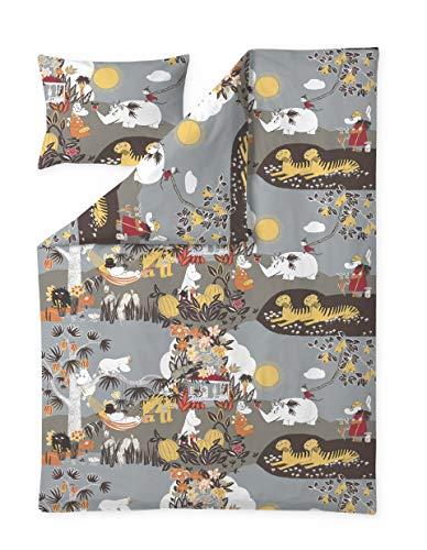Finlayson Moomin Bettbezug Kopfkissenbezug Dschungel Moomin Braun 150 x 210 cm 50 x 60 cm