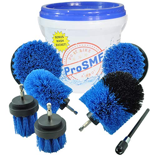 ProSMF Drill Brush Power Scrubber - Drill Brush Attachment for Cleaning - Hot Tub - Spas - Kayak - Canoe - Boat - Slides - Swimming Pools - Diving Boards - Medium Stiffness
