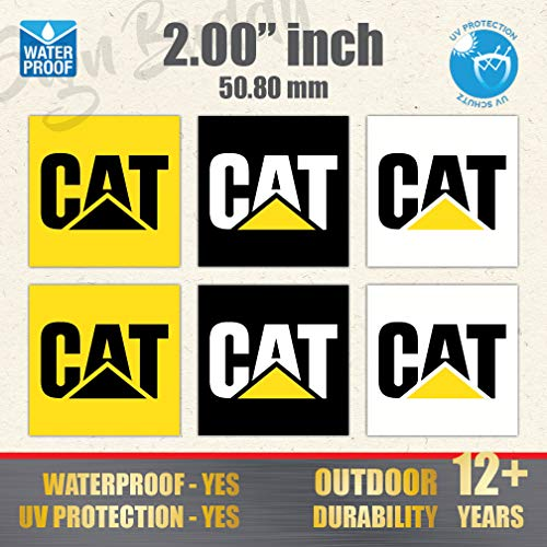 """(Pack of 6 pcs) Caterpillar CAT 2"""" Logo Vinyl Sticker Tools Case Shoes Decal Truck Toolbox 2.00 x 2.00 inch Label"""