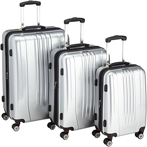 Packenger Premium Koffer 3 er-Set Stone M/L/XL, 78 cm, 68 Liter, Silber
