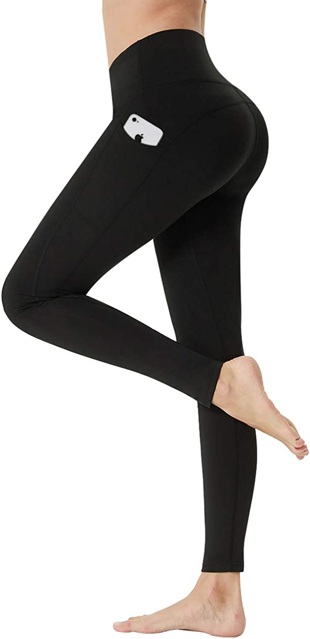 LANBAOSI Women Butt Lifting Yoga Pants Black High Waisted Workout Leggings Tummy Control Full Length Tights with Pockets