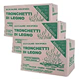 3x Tronchetti da Ardere, in Legno di Faggio-Abete Pressato, in Scatola da 9kg   Per Stufe Caminetti e Forni   27 kg in totale  
