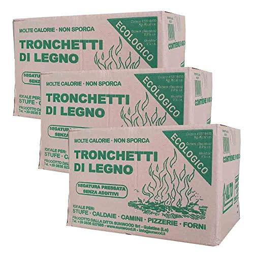 3x Tronchetti da Ardere, in Legno di Faggio-Abete Pressato, in Scatola da 9kg | Per Stufe Caminetti e Forni | 27 kg in totale |