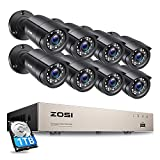 ZOSI 8CH Security Camera System Outdoor with 1TB Hard Drive,H.265+ 8Channel 5MP Lite CCTV DVR Recorder 8pcs Weatherproof Home Surveillance Cameras,80ft Night Vision,Remote Access,Motion Alert