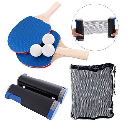 RZJMYUE Mesa de Ping Pong Conjunto de paletas con paletas retractil Net + 2 + 3 + 1 Bolas Cubierta de la Caja Bolsa, Profesional de Ping-Pong Conjunto de paletas para Juegos al Aire Libre de Interior