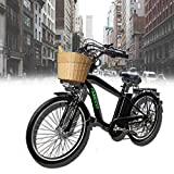 NAKTO 26' Adult Electric Bicycle for Men High-Speed Brushless Motor, V Brake, Sporting Shimano 6-Speed Gear, Removable 36V...