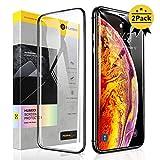 【Humixx】iPhone Xs ガラスフィルム iPhone X ガラスフィルム 2枚入り 日本旭硝子製 最高硬度10H 強化ガラス 9Dラウンドエッジ加工 全面保護 ガイド枠付き 貼りやすい 高鮮明 透過率99.9% アンチグレア 気泡防止 指紋防止