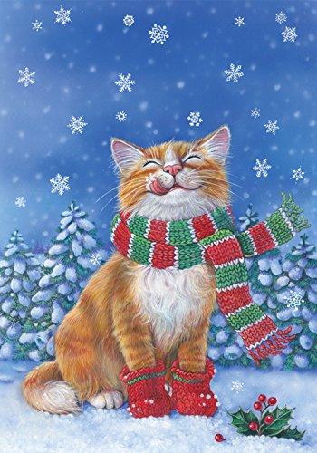 Toland Home Garden Kitten Mittens 12.5 x 18 Inch Decorative Cute Winter Snow Kitty Cat Scarf Garden Flag