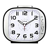 5' Silent Analog Alarm Clock Non Ticking, Gentle Wake, Beep Sounds, Increasing Volume, Battery Operated Snooze and Light Functions, Easy Set (Black)