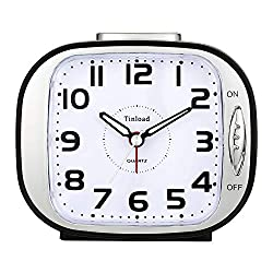 5 Silent Analog Alarm Clock Non Ticking, Gentle Wake, Beep Sounds, Increasing Volume, Battery Operated Snooze and Light Functions, Easy Set (Black)