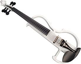 kesoto Hand Carved 5 String Full Size 4/4 Electric Violin Set, White