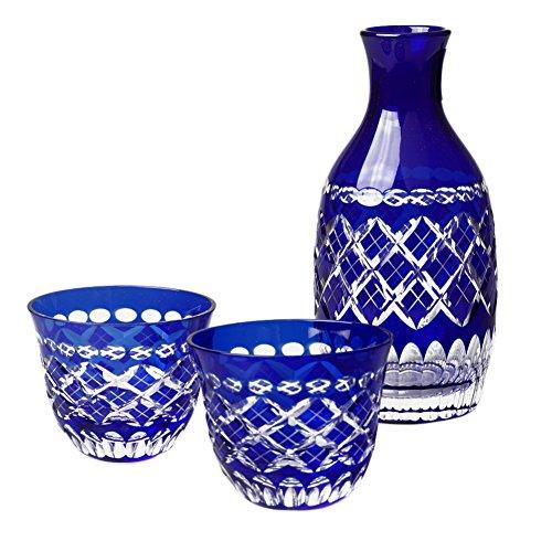 Edo Kiriko Japanese Blue Glass Sake Set, Cut Glass Drinking Set Of Sake Decanter & 2 Guinomi Cups [Japanese Crafts Sakura]