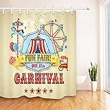 LUODAN Park-Zirkus-Retro Karnevals-Vergnügungspark-ThemaDekorativer wasserdichter Duschvorhang mit HD-Druck, geeignet für Badezimmer, 12 freie Haken, 180x180 cm