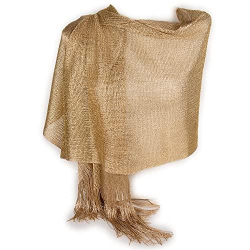 Emila Stola oro scuro cerimonia coprispalle elegante a rete con frange foulard scialle grande sciarpa lurex da matrimonio per abito da sera giorno primavera estate 2021 estivo Oro antico