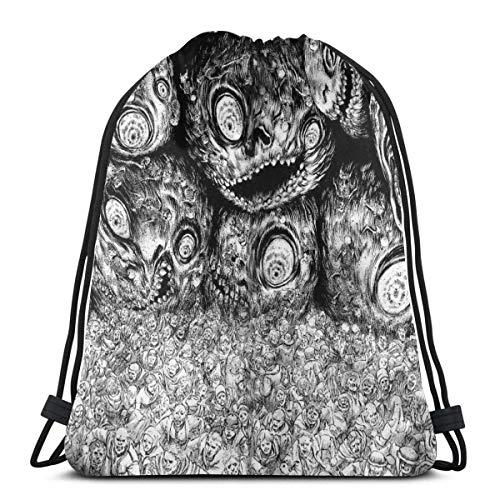 521 Bolsas De Cordones,Junji Ito Atrapado Pesadilla Deporte Mochila Lavable Bolsas con Cordón De Gimnasio Durable Bolso De Cuerda Unisex Mochila Cordónes para Deportes Escuela Hombre Mujer